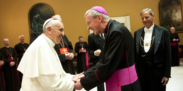 Bp Declan Lang z papieżem Franciszkiem
