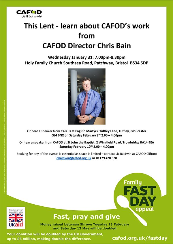 CAFOD Director Chris Bain - Talk @ Holy Family, Southsea Road, Patchway, Bristol | Patchway | England | United Kingdom