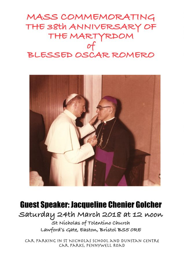 MASS COMMEMORATING THE 38th ANNIVERSARY OF THE MARTYRDOM of BLESSED OSCAR ROMERO @ St Nicholas of Tolentino Church Lawford's Gate, Easton, Bristol  | England | United Kingdom