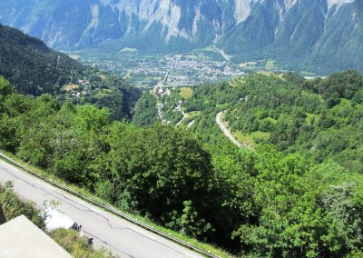 8. Looking down into the valley from the climb of Alpe d'Huez