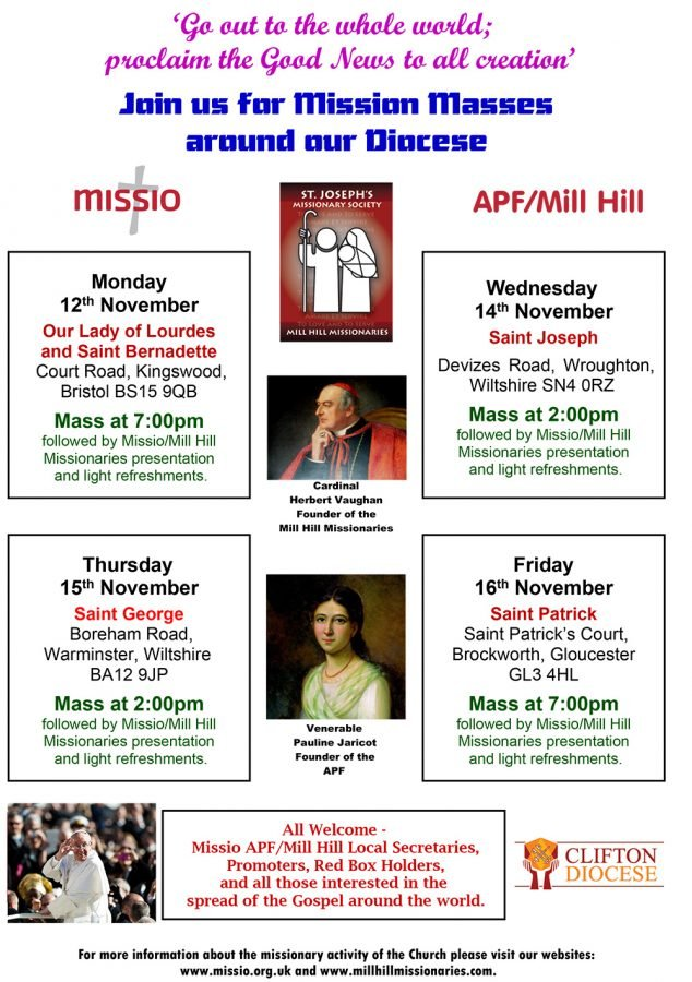 Missio APF/Mill Hill Masses are taking place around our Diocese