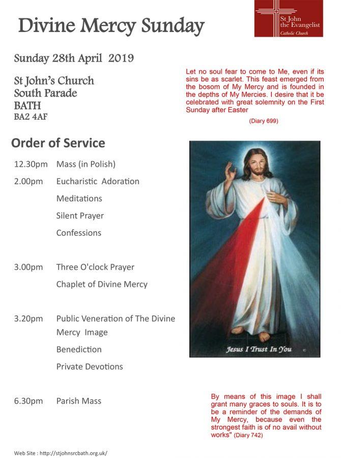 Divine Mercy Sunday @ St John's Church South Parade BATH BA2 4AF