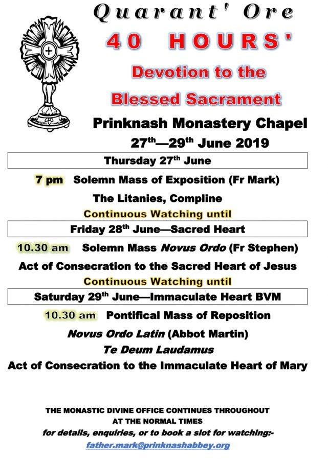40 hours Devotion to the Blessed Sacrament @ Prinknash Monastery Chapel | Cranham | England | United Kingdom