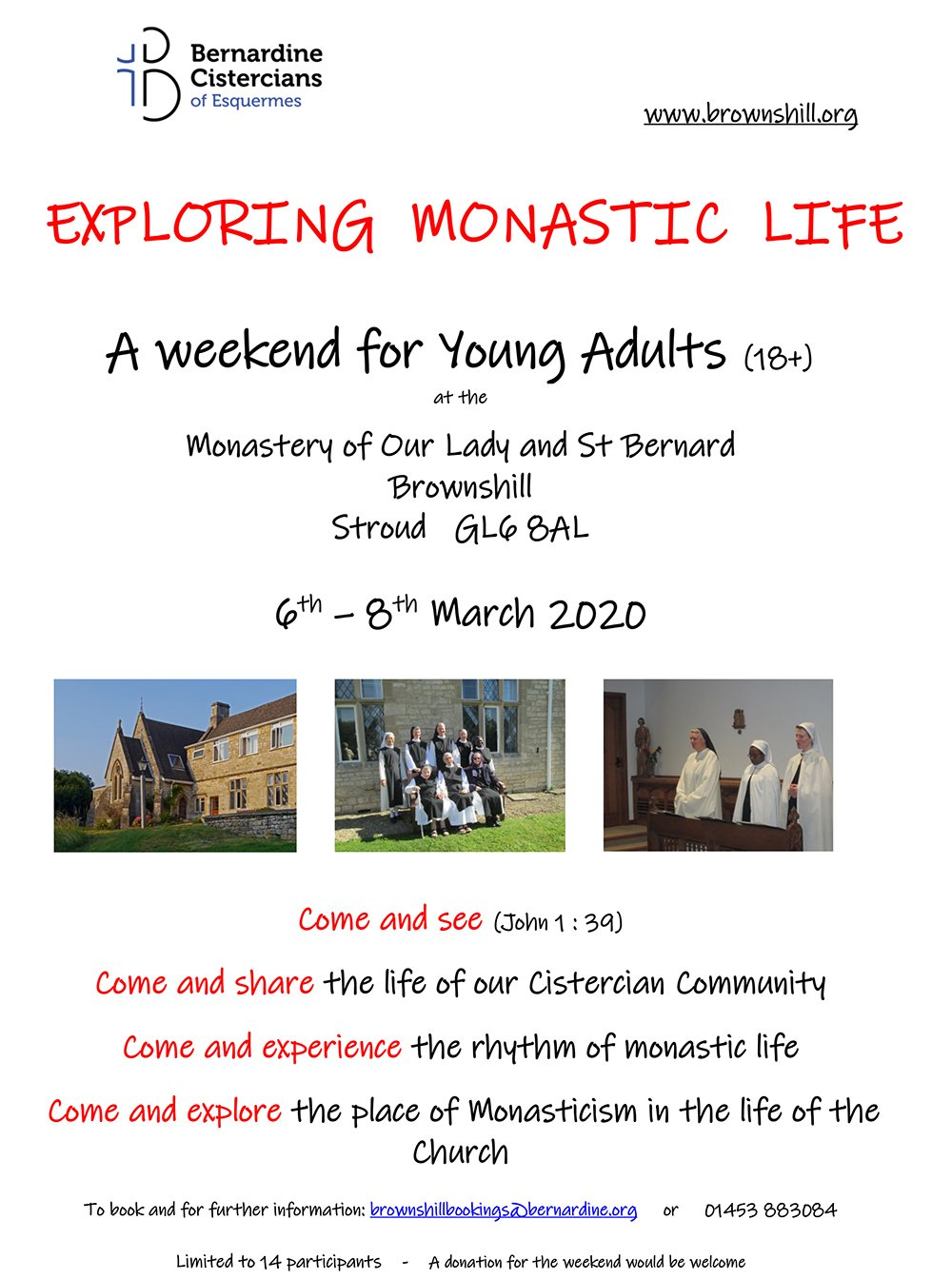 EXPLORING MONASTIC LIFE - A weekend for Young Adults (18+) @ Monastery of Our Lady and St Bernard Brownshill Stroud | Brownshill | England | United Kingdom
