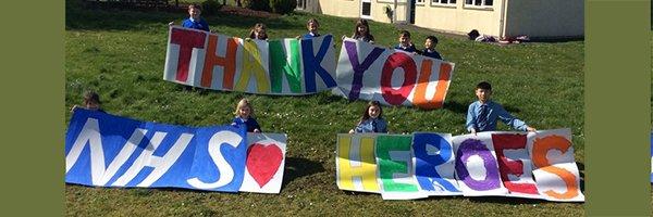 Bristol schoolchildren paint huge 'NHS Heroes' sign for Southmead Hospital
