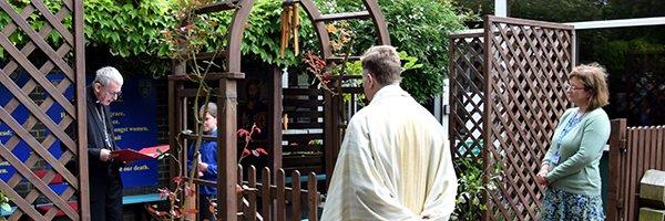 Bishop Declan blesses St Edmund's Primary School Prayer Garden